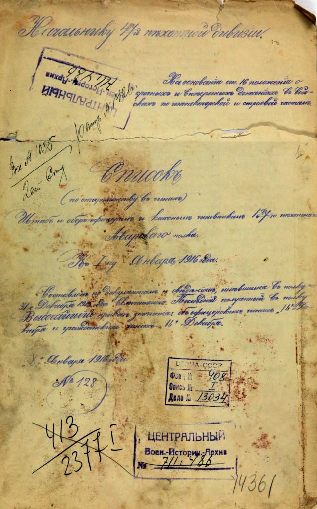 Список 187 Аварского полка