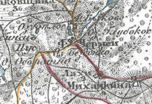 Чернеи на карте 1913г.