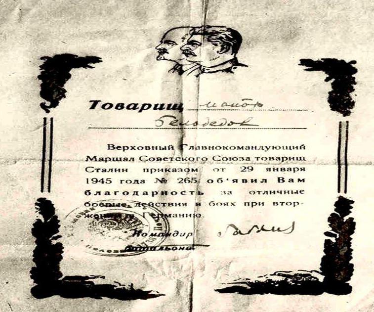 Благодарность Белодедов А.И.