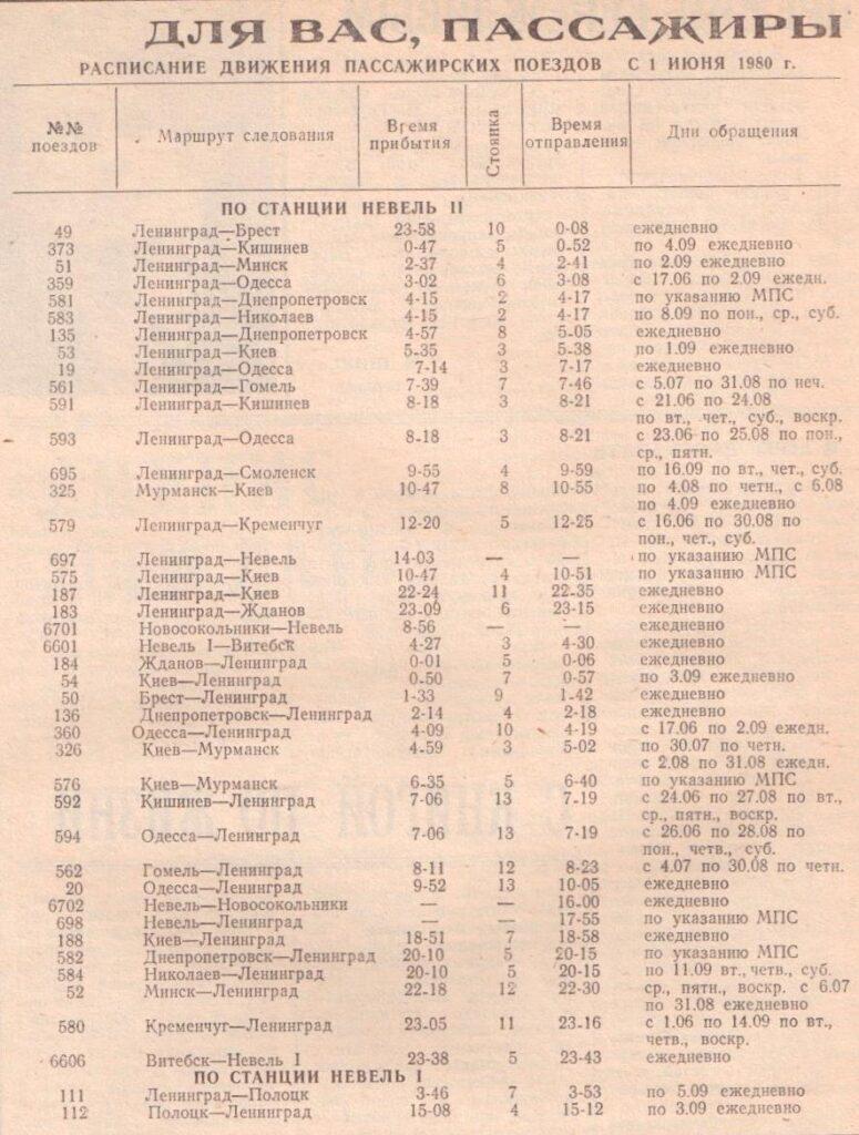 ж.д расписание Невель 1980