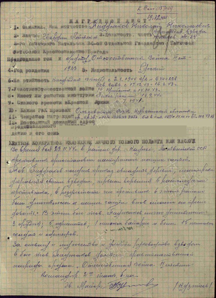 Н.Н. Пиджаков Герой Советского Союза