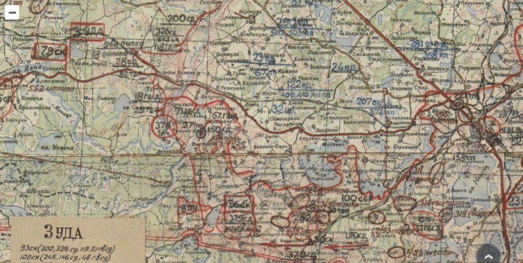Карта обстановки войск 2 ПрибФ к 24.00 3.12.43 г.